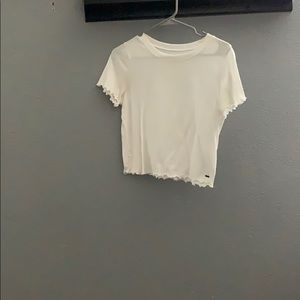 White lettuce edge crop tee
